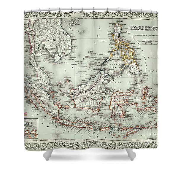 Vintage Map Of The East Indies  Shower Curtain