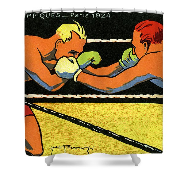 Vintage Poster For 1924 Paris Olympics Showing Two Boxers Boxing Shower Curtain