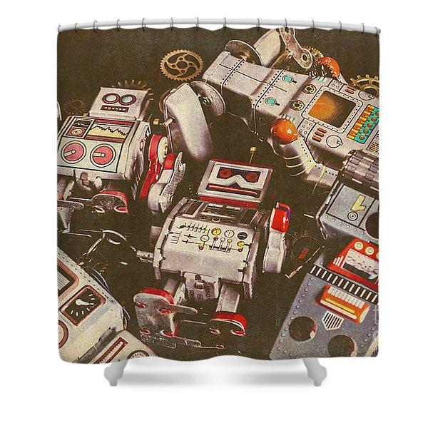 Vintage Robotronics Shower Curtain