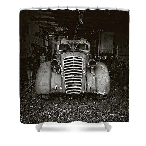 Vintage Service Station Jerome Arizona Shower Curtain
