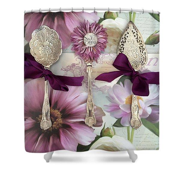 Vintage Spoons Flatware Lavender Purple Pink Floral Spoon Kitchen Wall Decor Shower Curtain