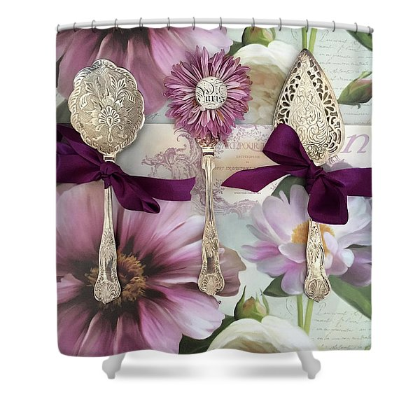 Vintage Spoons Flatware Lavender Purple Pink Floral Spoon Kitchen Wall Decor Shower Curtain