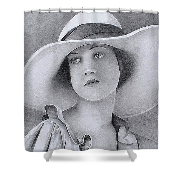 Vintage Woman In Brim Hat Shower Curtain