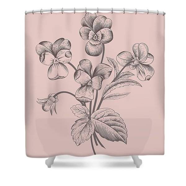 Violet Blush Pink Flower Shower Curtain