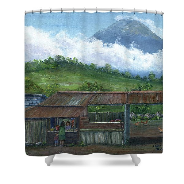 Volcano Agua, Guatemala, With Fruit Stand Shower Curtain