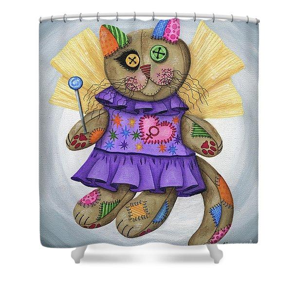 Voodoo Empress Fairy Cat Doll - Patchwork Cat Shower Curtain