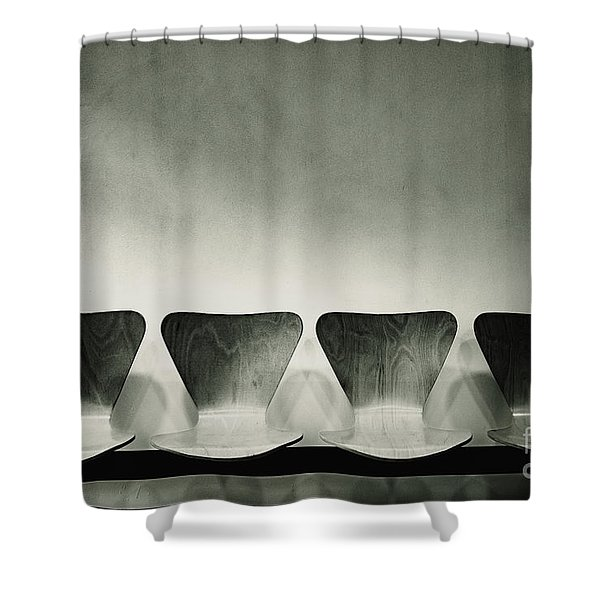 Waiting Room With Empty Wooden Chairs, Concept Of Waiting And Passage Of Time, Black And White Image, Free Space For Text. Shower Curtain
