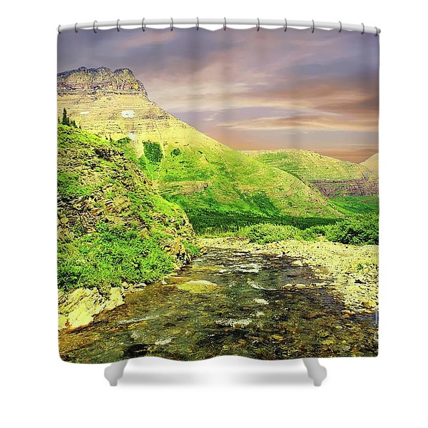 Walking The Swift Current River Shower Curtain
