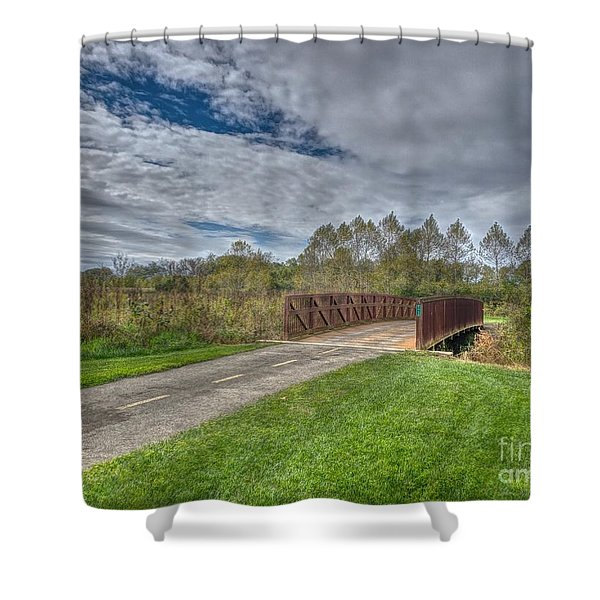 Walnut Woods Bridge - 1 Shower Curtain
