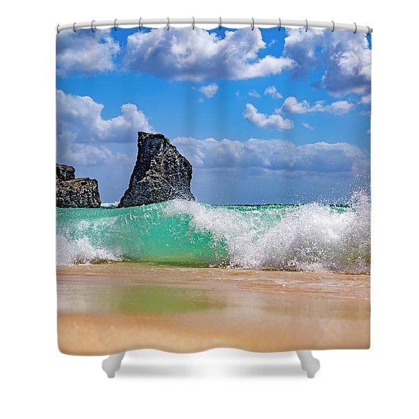 Warm Coastal Greetings Shower Curtain