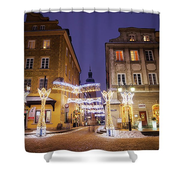 Warsaw Old Town Houses At Night Shower Curtain