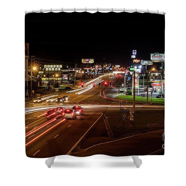 Washington Road At Night - Augusta Ga Shower Curtain