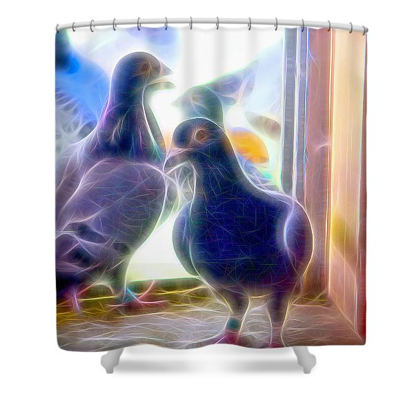Watchful Homing Pigeons Fibers Shower Curtain