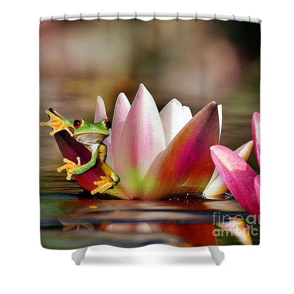 Water Lily And Frog Shower Curtain