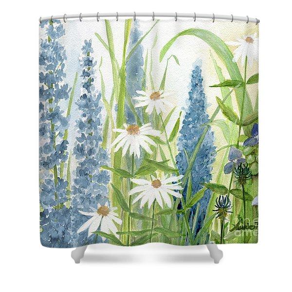 Watercolor Blue Flowers Shower Curtain