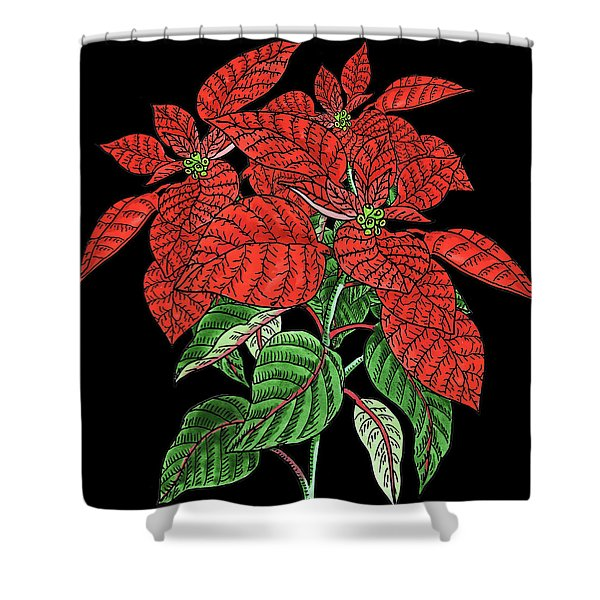 Watercolor Flower Red Poinsettia Plant Shower Curtain