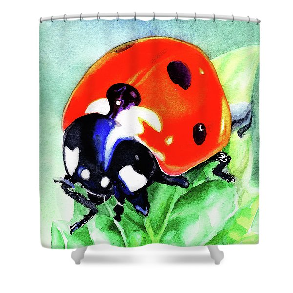 Watercolor Ladybug Shower Curtain
