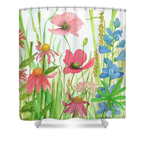 Watercolor Touch Of Blue Flowers Shower Curtain