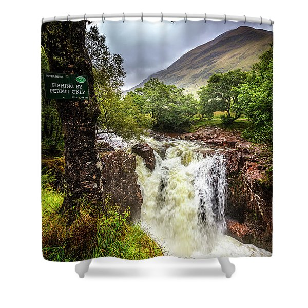 Waterfall At The Ben Nevis Mountain Shower Curtain