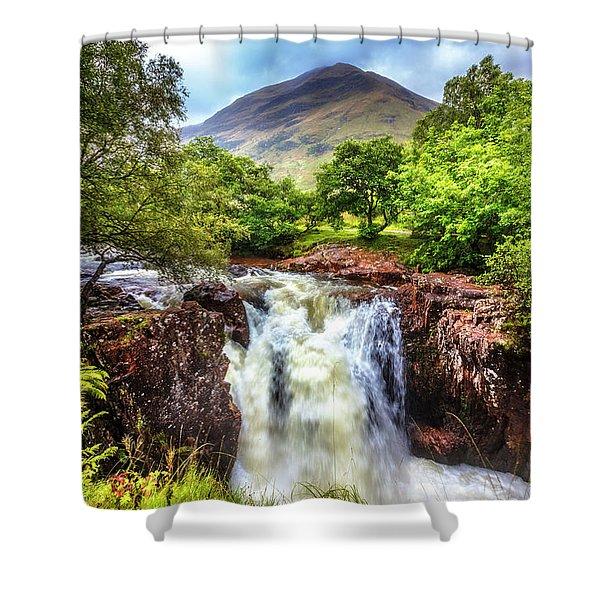 Waterfall Beneath The Ben Nevis Mountain Shower Curtain
