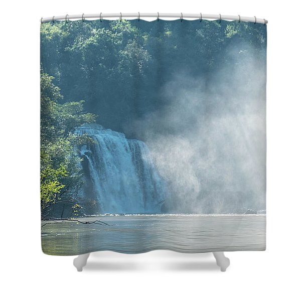 Waterfall, Sunlight And Mist Shower Curtain