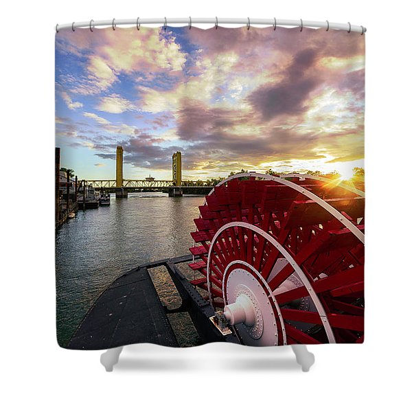 Waterfront Sunset Shower Curtain