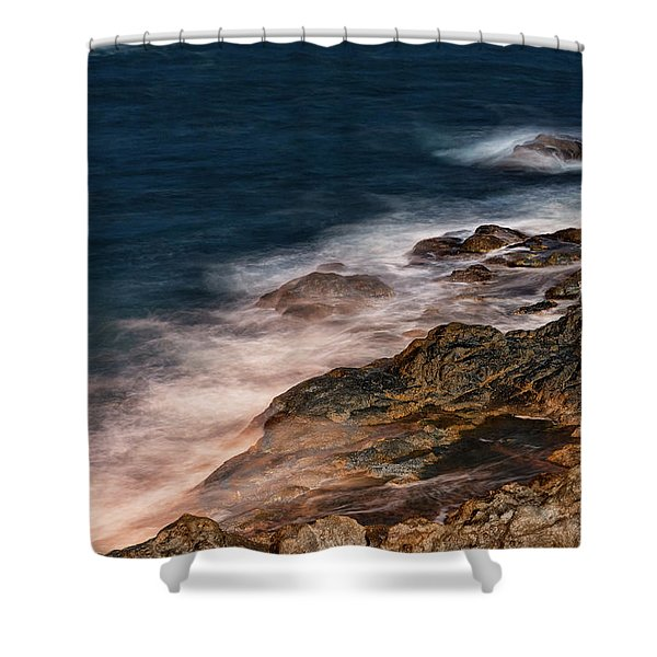 Shower Curtain featuring the photograph Waves And Rocks At Sozopol Town by Milan Ljubisavljevic