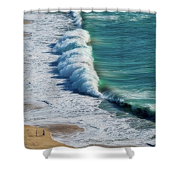 Waves At Nazare Beach - Portugal Shower Curtain