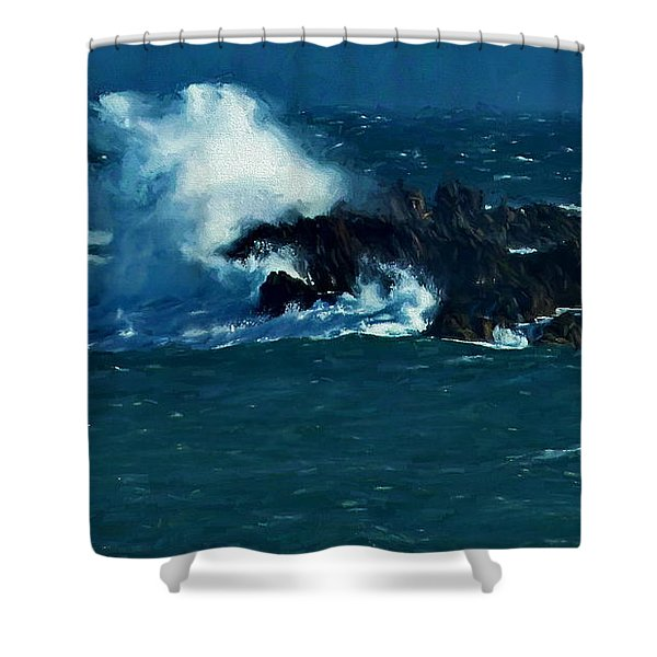 Waves On The Rocks Shower Curtain