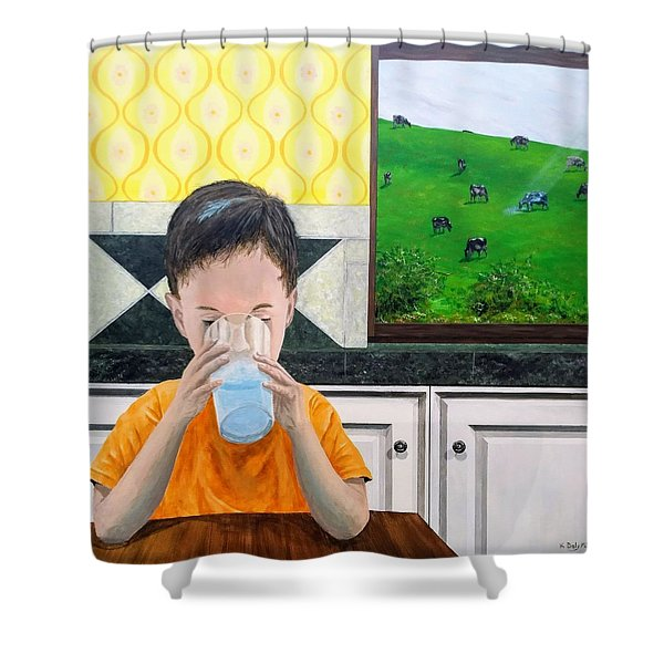 Shower Curtain featuring the painting We Are Starstuff by Kevin Daly