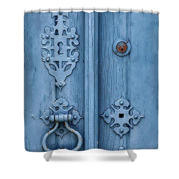 Weathered Blue Door Lock Shower Curtain