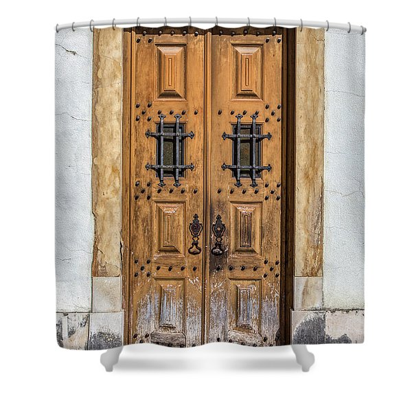 Weathered Brown Door Of Portugal Shower Curtain