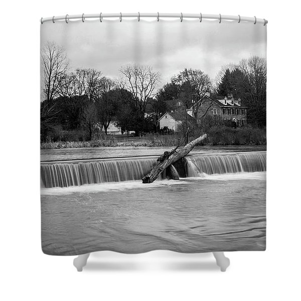 Wehr's Dam - Black And White Shower Curtain