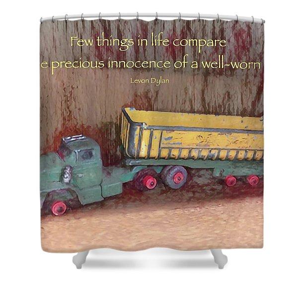 Well-worn Toy Shower Curtain
