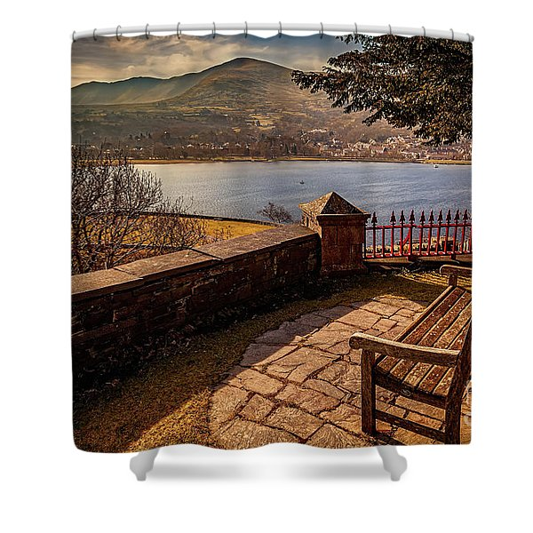 Welsh Lake Viewpoint Shower Curtain