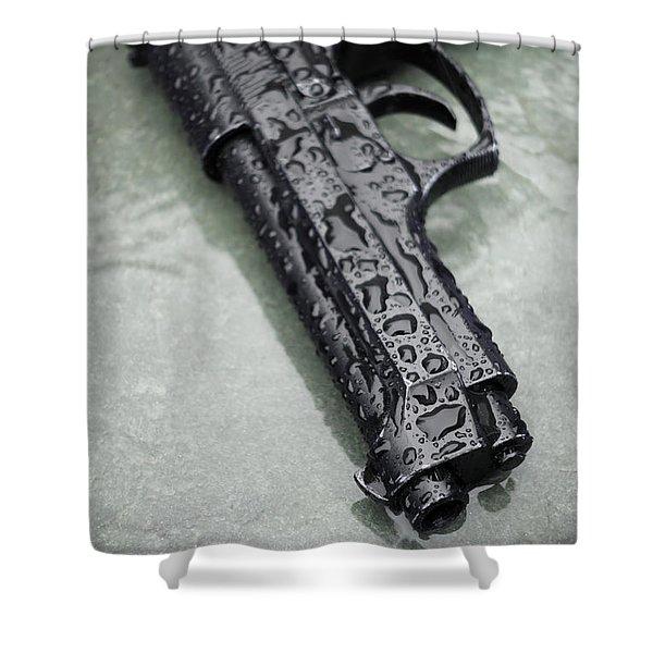 Wet Handgun Shower Curtain