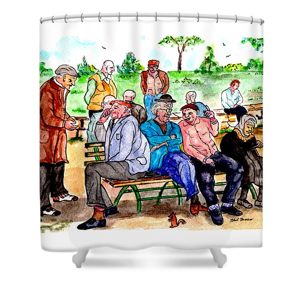 When Park Benches Were Filled With People Shower Curtain