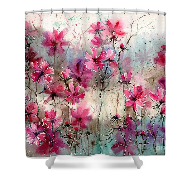 Where Pink Flowers Grew Shower Curtain