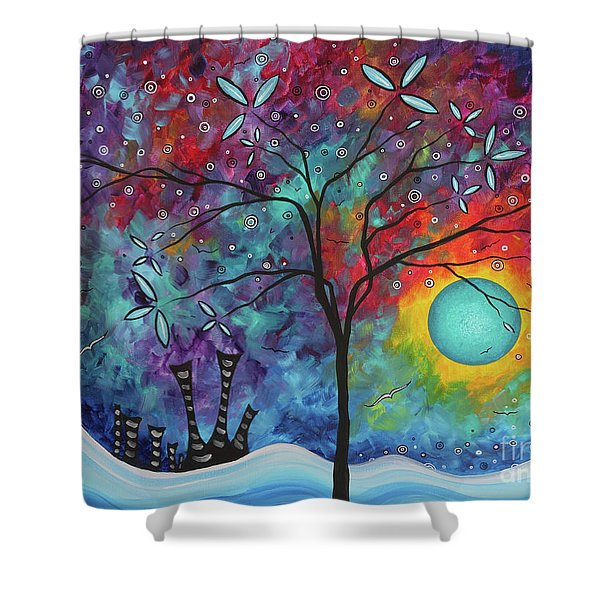 Whimiscal Abstract Original Painting Tree Art By Megan Duncanson Madart Shower Curtain