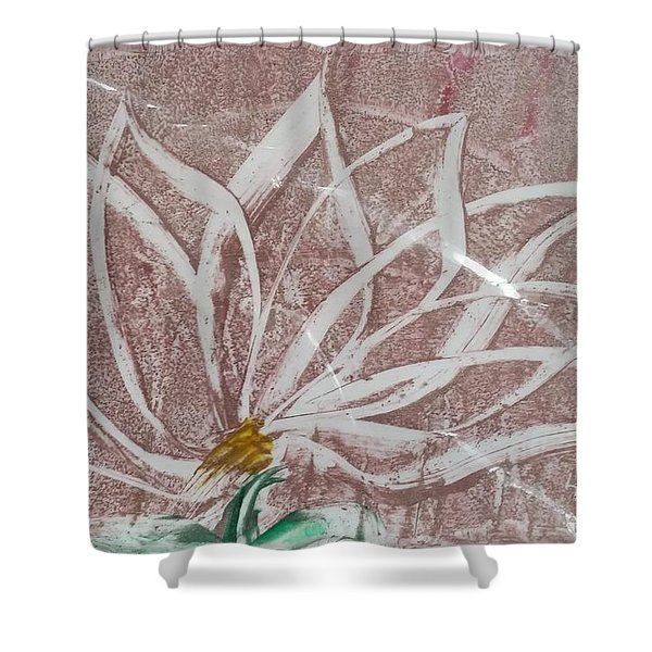 White Abstract Floral On Silverpastel Pink Shower Curtain