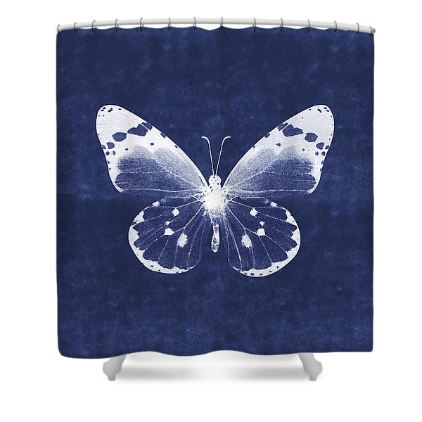 White And Indigo Butterfly 1- Art By Linda Woods Shower Curtain