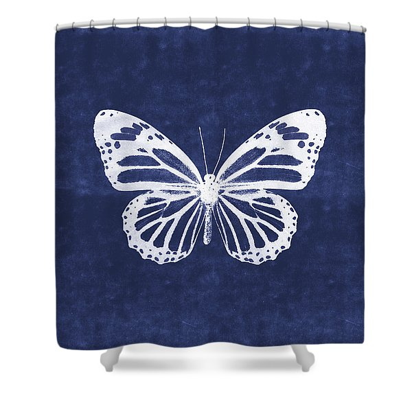 White And Indigo Butterfly 3- Art By Linda Woods Shower Curtain