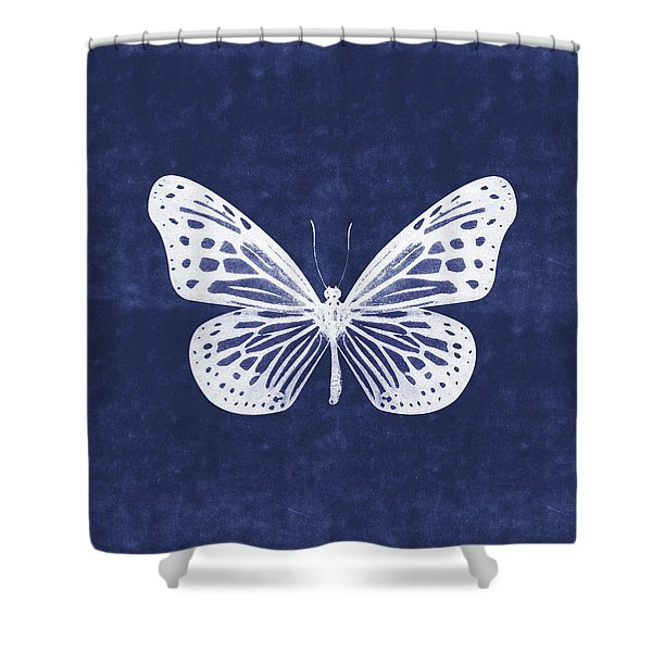 White And Indigo Butterfly- Art By Linda Woods Shower Curtain