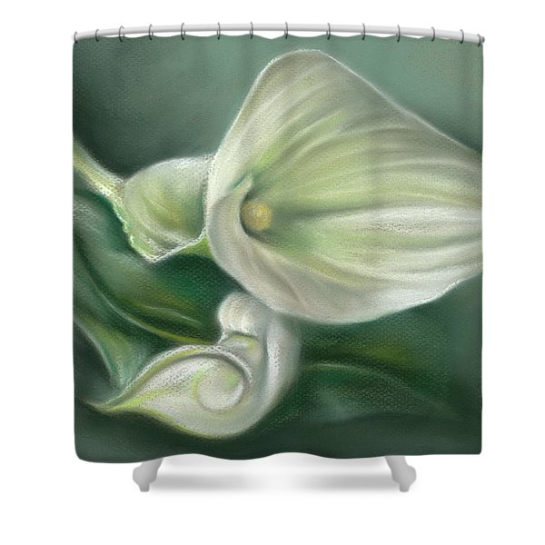 White Callas With Leaf Shower Curtain