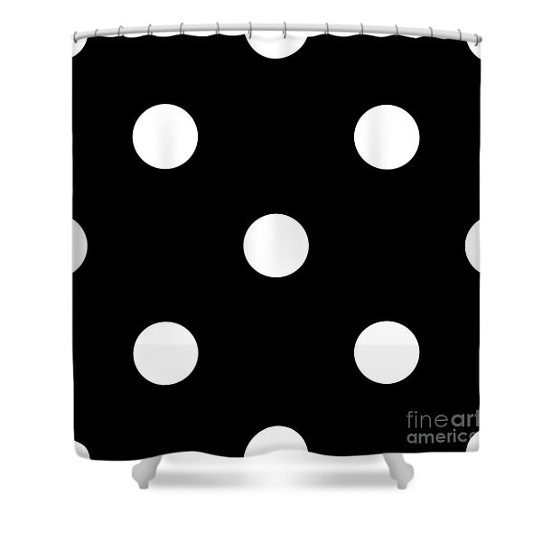 White Dots On A Black Background- Ddh612 Shower Curtain
