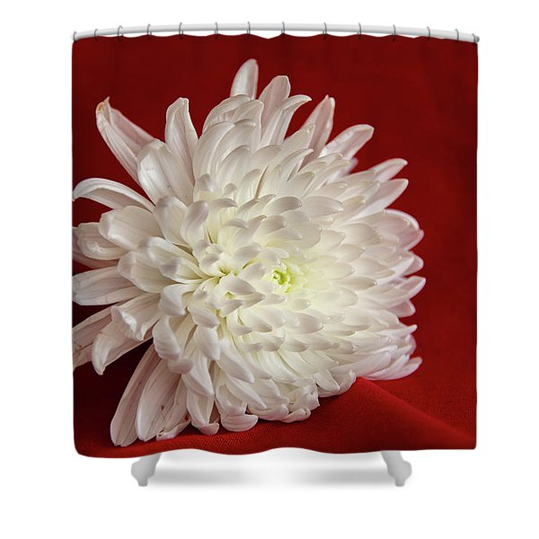 White Flower On Red-1 Shower Curtain