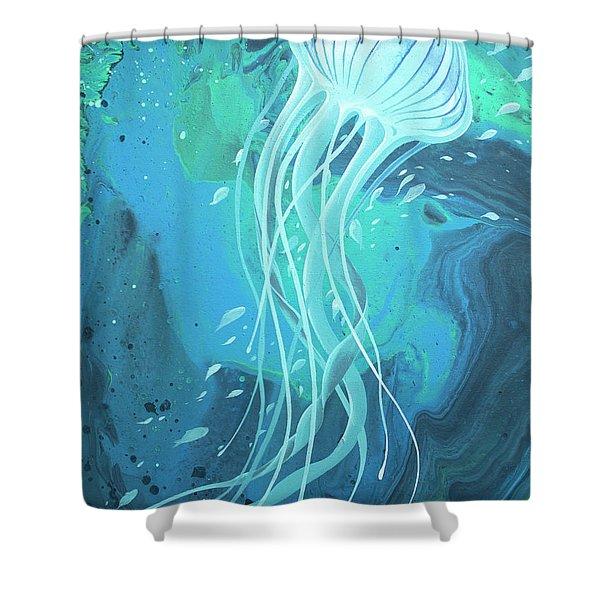 White Jellyfish Shower Curtain