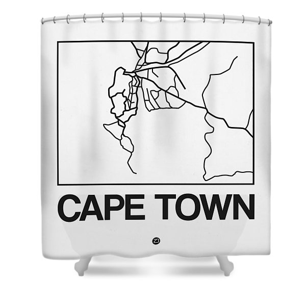 White Map Of Cape Town Shower Curtain
