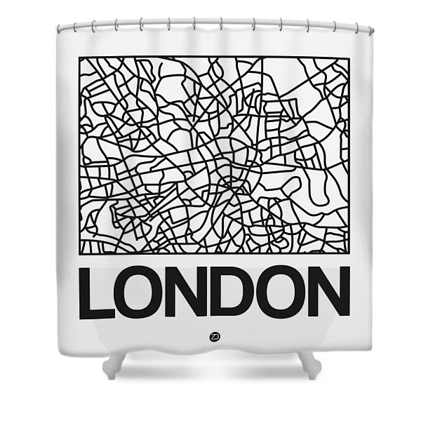 White Map Of London Shower Curtain