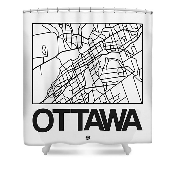 White Map Of Ottawa Shower Curtain